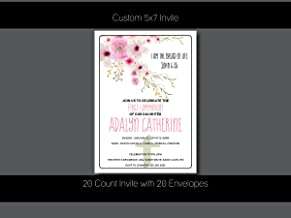 Custom First Communion Invitation - Boho, Floral, First Communion, Baptism,Confirmation, Christening - Personalized (20 Count)