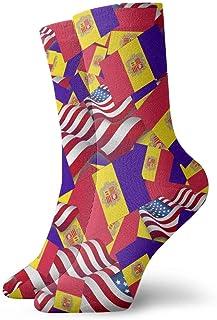 Calcetines casuales de la bandera de Andorra con calcetines de la bandera de América Calcetines de compresión de vestido corto para mujeres Hombres