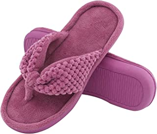 Women's Memory Foam Flip Flop Slippers with Cozy Terry Lining, Moisture-Wicking Open Toe Slip On Spa Thong Sandals Mules, Ladies' House Shoes with Indoor Outdoor Anti-Skid Hard Rubber Sole