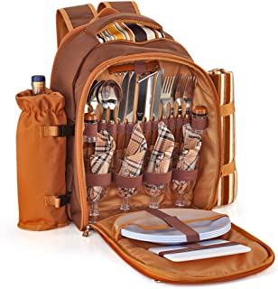 Flexzion Picnic Backpack Kit - Set for 4 Person Bag with Insulated Cooler Compartment, Detachable Bottle/Wine Holder, Flee...