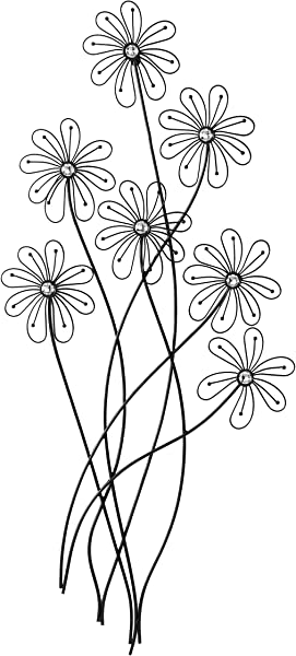 Deco 79 64650 Modern Metal And Acrylic Floral Wall Decor 40 H X 1 L Polished Black Finish