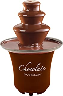 Nostalgia CFF300 8-Ounce Chocolate Fondue Fountain, Half-Pound Capacity, Easy to Assemble 3 Tiers, Perfect For Nacho Cheese, BBQ Sauce, Ranch, Liqueurs, 0.5 Pound, Brown