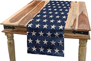 Ambesonne Star Table Runner, Patriotic Star of The American Flag Independence Themeds of Freedom, Dining Room Kitchen Rectangular Runner, 16
