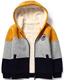 Bumeex Little Big Boys Sherpa Fleece Lined Zip up Hoodie or Jacket for 2-14years