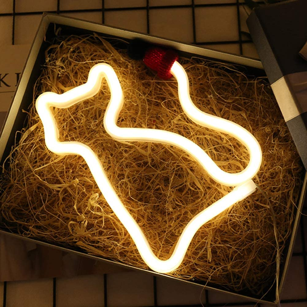 Cat Neon Sign LED Neon Light Decorative Art Wall Decor for Children Baby Room Living Room Wedding Christmas Birthday Party Decor Warm White