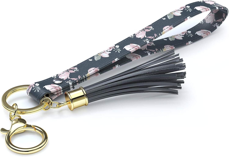 Rose Lake Wristlet Keychain with Tassels Wrist Lanyard Key Chain Holder Floral Leather Hand Strap Car Keyring for Women Girls