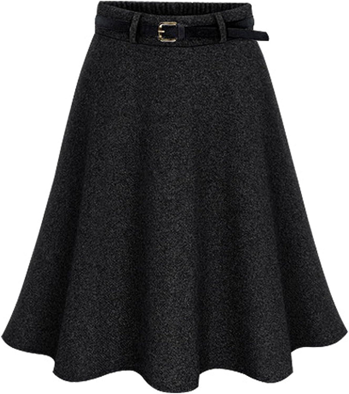 Chouyatou Women's Elastic Waist ALine Flare Flowy Wool Knee Length Wrap Skirts