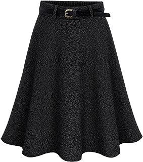 Women's Elastic Waist A-Line Flare Flowy Wool Knee Length Wrap Skirts
