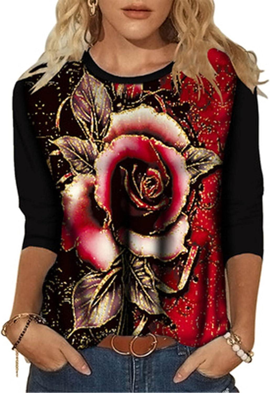Fashion Crewneck Sweatshirts Autumn Long Sleeve T-Shirts Tunic Tops Rose Floral Printing Blouse Tops