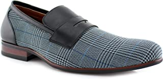 Ferro Aldo Men's 19371 Designer Plaid Print Slip On Round Toe Penny Loafers Dress Shoes