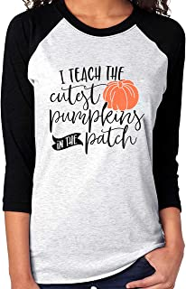 Fall Teacher Shirt Women Plus Size Funny Halloween 3/4 Sleeve Baseball Tops