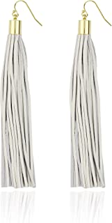Genuine Lamb Skin Leather Long Tassel Drop Earrings for Women