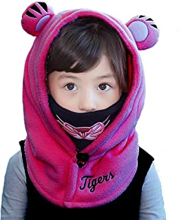 Leories Kids Winter Windproof Cap Thick Warm Face Cover Adjustable Ski Hat Dark Blue/Pink