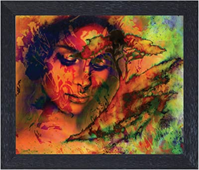 Amazon Brand - Solimo Thinking Lady Painting with Frame