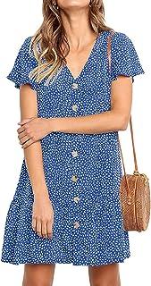 NICIAS Women's Short Sleeve V Neck Button Down Ruffles Casual Tunic Dress Loose Swing T-Shirt Mini Dresses