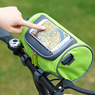 Ravifun Handlebar Bag, Waterproof Bicycle Bike Front Storage Bag with Touchscreen Transparent PVC Pouch Smartphone Holder and Removable Shoulder Strap, Green/Blue