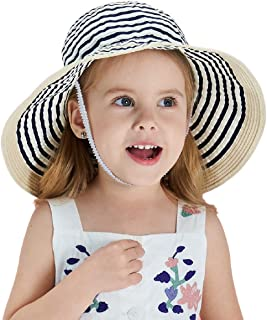 Connectyle Kids Large Brim Sun Protection Hat Foldable Beach Sun Hats for Girls