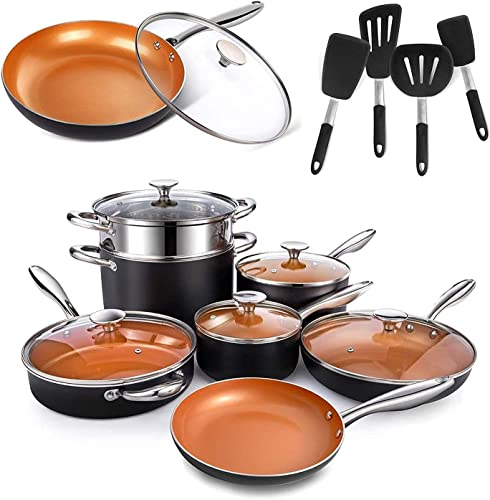 new arrival MICHELANGELO popular 12 Pieces Copper Pots and Pans Set + 4-Piece Silicone Spatula Turner Set + 12 Inch Frying Pan with Lid with outlet sale Ceramic Titanium Coating, Ceramic Cookware Set outlet online sale