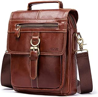 Mens Leather Bag Men's Single-Shoulder Bag Men's Cross-Body Bag Bag Autumn and Winter Men's Bag Handbag Retro Men's Bag Bag (Color : Brown, Size : S)