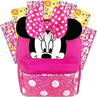 Disney Minnie Mouse Backpack for Girls Toddlers Kids ~ Deluxe 12 Inch Minnie Preschool Toddler Backpack with Ears, Bow and Magic Reversible Sequins and Stickers (Minnie Mouse School Supplies)