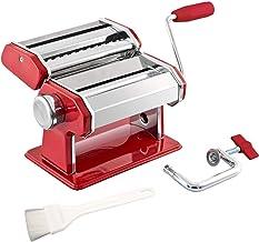 bremermann Pasta machine roestvrij staal - voor spaghetti, pasta en lasagne (7 standen), pastamashine, pastamaker (rood)
