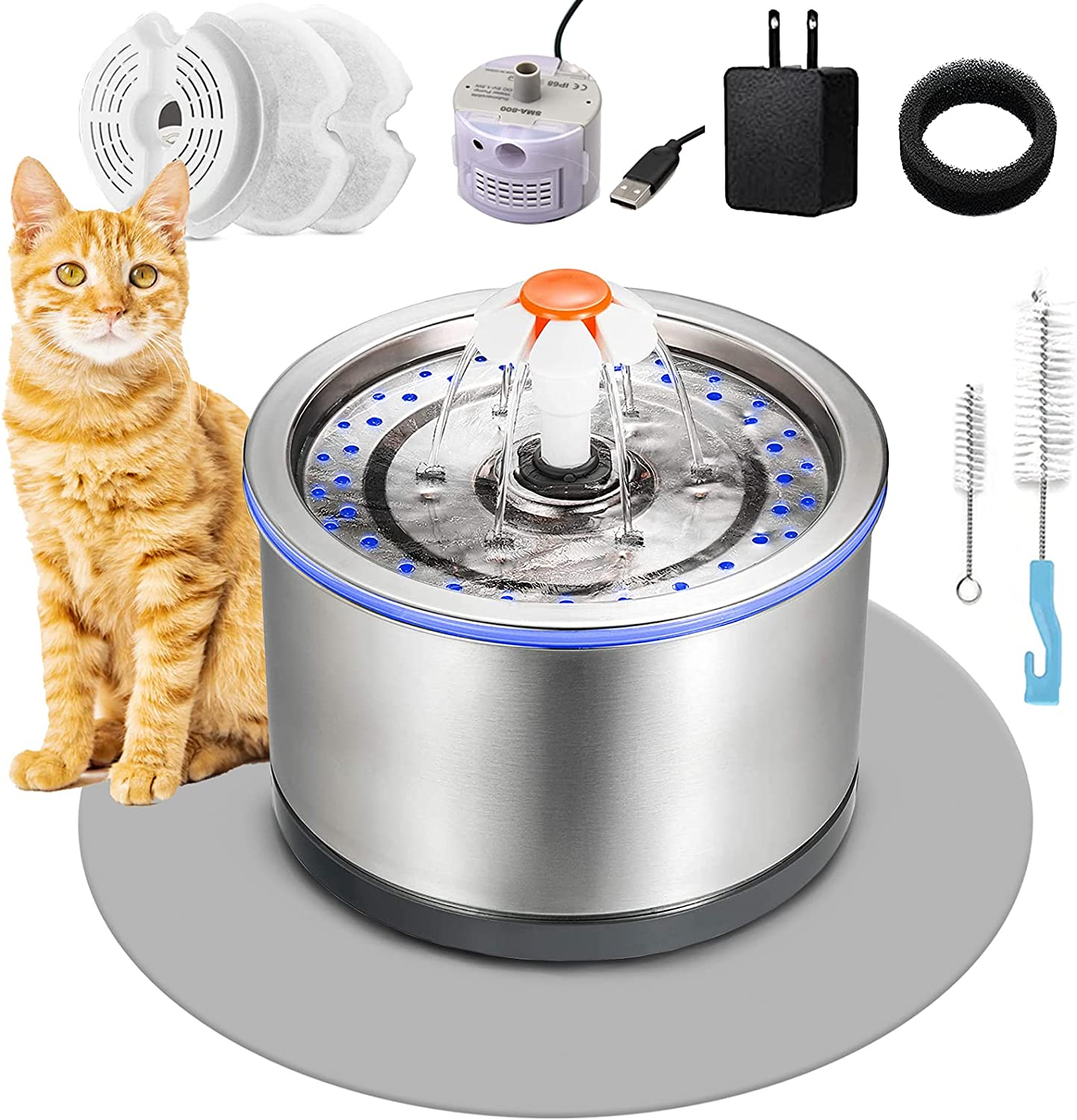 Cat Water Fountain Stainless Steel 84oz/2.5L,Automatic Pet Water