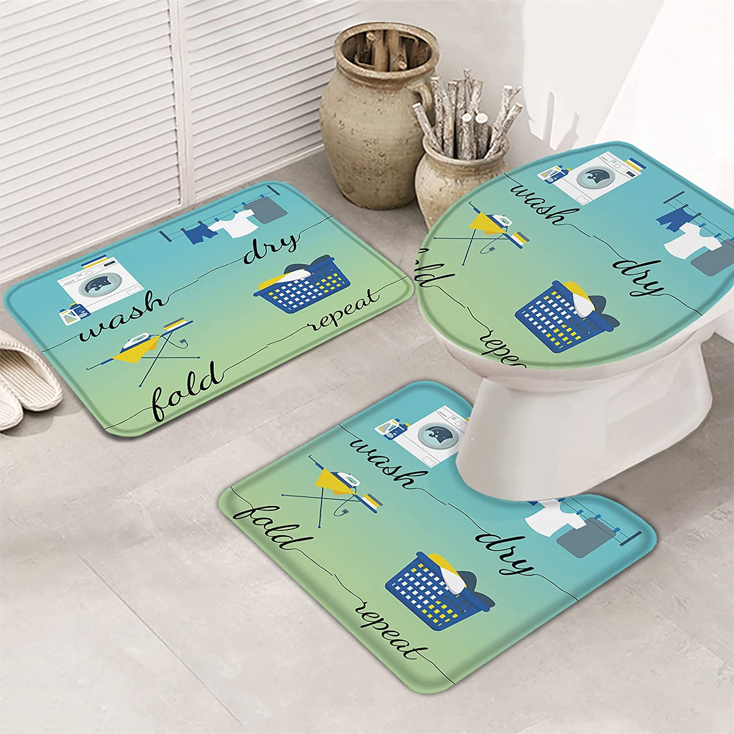 Outlet ☆ Free Shipping Super Special SALE held 3 Piece Set Bathroom Rugs for Wash G Green Fold Blue Try Repeat