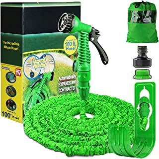 100FT Expanding Garden Water Hose Pipe with 7 Function Spray Gun Expandable Flexible Magic Hose Anti-leakage Lightweight E...