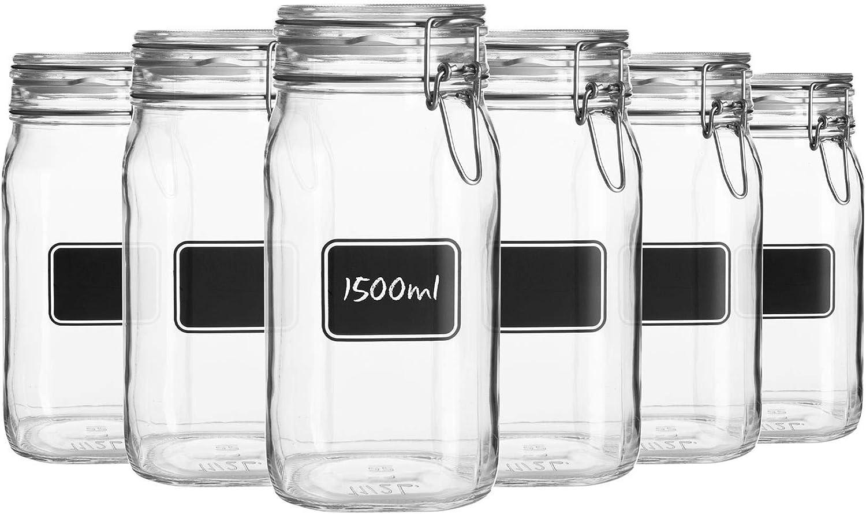 Bormioli Rocco 6pc Lavagna Free shipping on posting reviews Glass Set Chalkboard Storage Jar with Brand Cheap Sale Venue