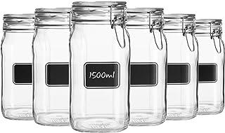 Bormioli Rocco 6pc Lavagna Verre Ensemble de Rangement Jar avec Chalkboard Labels - Pâtes Alimentaires Jam bocaux à conser...