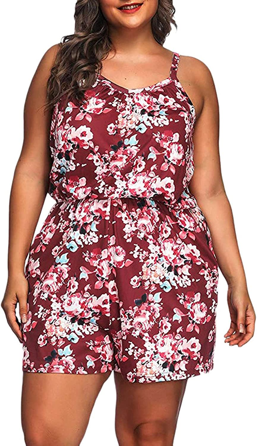 Plus Size Jumpsuits for Women Casual Summer Bohemian Floral Print Cold Shoulder Jumpsuit Rompers Outfits