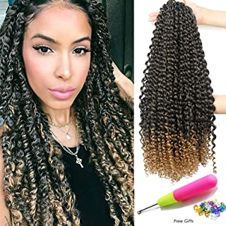 Passion Twist Hair 18 Inch 6 Packs/Lot Water Wave Crochet for Passion Twists Long Bohemian Hair Braiding Ombre Passion Twist Crochet Hair Braids Synthetic Hair Extensions (T1B/27#)