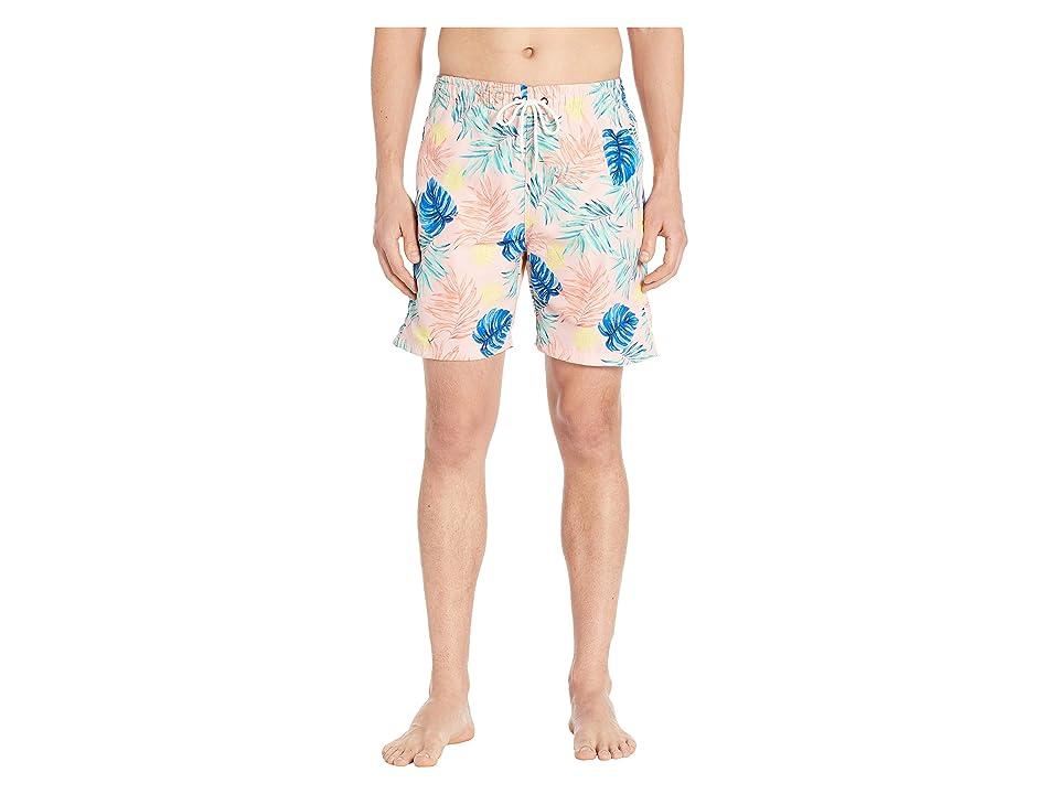 U.S. Surf Club Leafs Stripes Swim Shorts (Pink Coral) Men