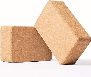 Huryfox Cork Yoga Block Set of 2, Non-Slip Premium High Density Wood Yoga Bricks, Exercise Fitness Bricks for Pilates, Med...