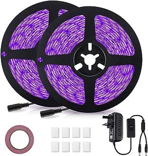 LED UV Strip Lights, GLIME LED UV Blacklight Strip 12V 10M/32.8ft 600 LED Self Adhesive Non-Waterproof Rope Lights for DJ ...