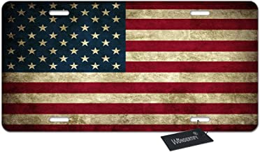 WONDERTIFY License Plate Rustic USA Flag American Patriotic Us Decorative Car Front License Plate,Vanity Tag,Metal Car Plate,Aluminum Novelty License Plate for Men/Women/Boy/Girls Car,6 X 12 Inch
