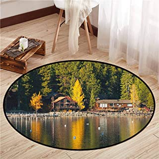 Indoor/Outdoor Round Rugs,Lake Tahoe,Carnelian Bay Photography Log Cabin in The Woods Holiday Destination Lakeside,Super Absorbs Mud,4'7