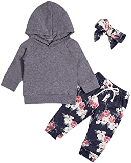 Toddler Baby Girl Clothes Long Sleeve Hoodie Sweatshirt Top and Floral Long Pants Outfit Sets