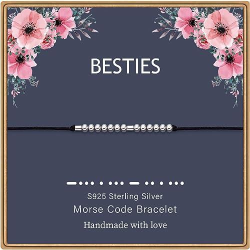 MONOZO Morse Code Bracelets for Women, S925 Sterling Silver Beads Morse Code Strand Bracelets Inspirational Gifts Jew...
