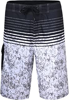 Men's Beachwear Striped Printed Fast Dry Surf Trunks with Side Pocket