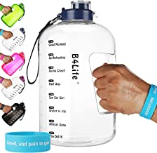 B4Life 1 Gallon Water Bottle with Time Marker, Motivational Fitness Workout, Drink More Water Daily, Extra Large BPA-Free Water Bottle Leakproof with Flip Top