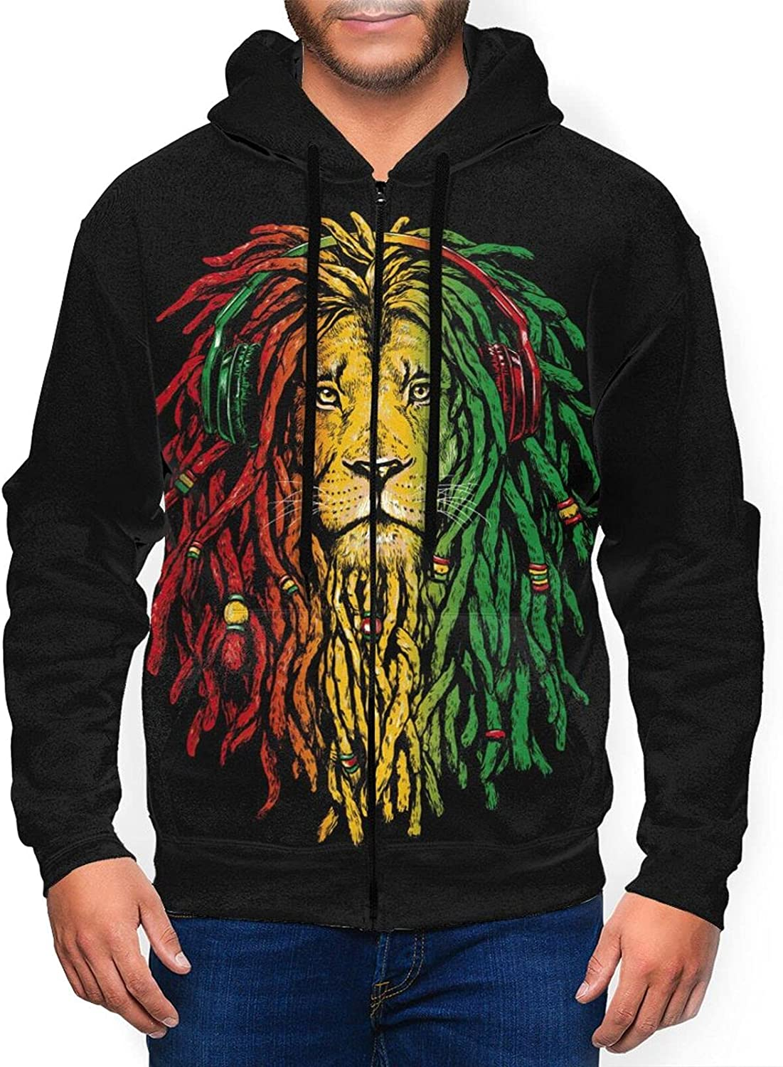 Newwo Jamaican Music Lion Flag Mens Sweat Jacket Max 69% OFF 100% quality warranty! Hooded Full-Zip