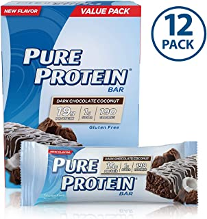 Pure Protein Bars, High Protein, Nutritious Snacks to Support Energy, Low Sugar, Gluten Free, Dark Chocolate Coconut, 1.76oz, 12 Pack