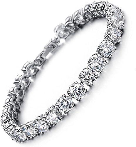 Tennis Bracelet with Swarovski Elements Crystal Jewelry Women Lady Zirconia Platinum Plated Bangle for her