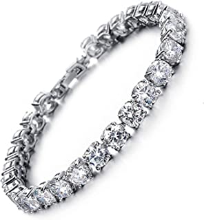 Tennis Bracelet Crystal Jewelry Lady Valentines Gift Zirconia Platinum Plated Bangle