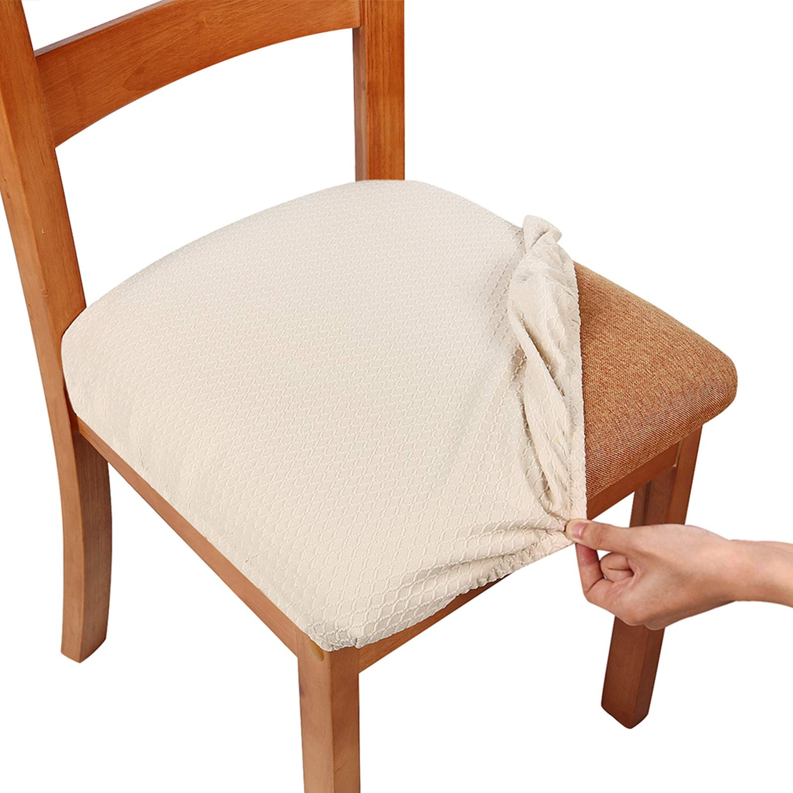 Amazon Com Smiry Seat Covers For Dining Room Chairs Stretch Jacquard Dining Room Chair Seat Covers Set Of 2 Beige Kitchen Dining