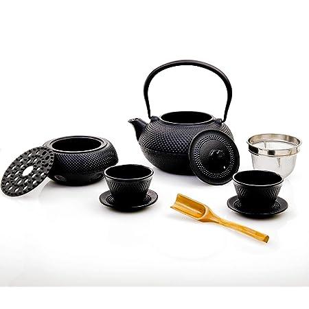 Lumaland Service à thé 8 pièces: théière de 1,4 litres,Cuillère à doser, 2 tasses à thé avec 2 soucoupes en fonte