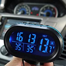 Yosoo Multi-functional 12V Car Auto LCD Digital Clock Thermometer Temperature Voltage Meter Monitor (Blue)