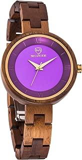 Women Wooden Watch,BIOSTON Handmade Vintage 34mm Analog Quartz Wrist Watches