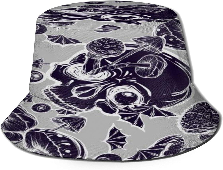 Purple Nippon regular agency Color Skull Mushrooms Bucket Hat Unisex Pa Summer Max 82% OFF Sun